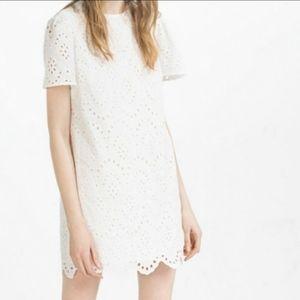 Zara White Eyelet Shift Dress